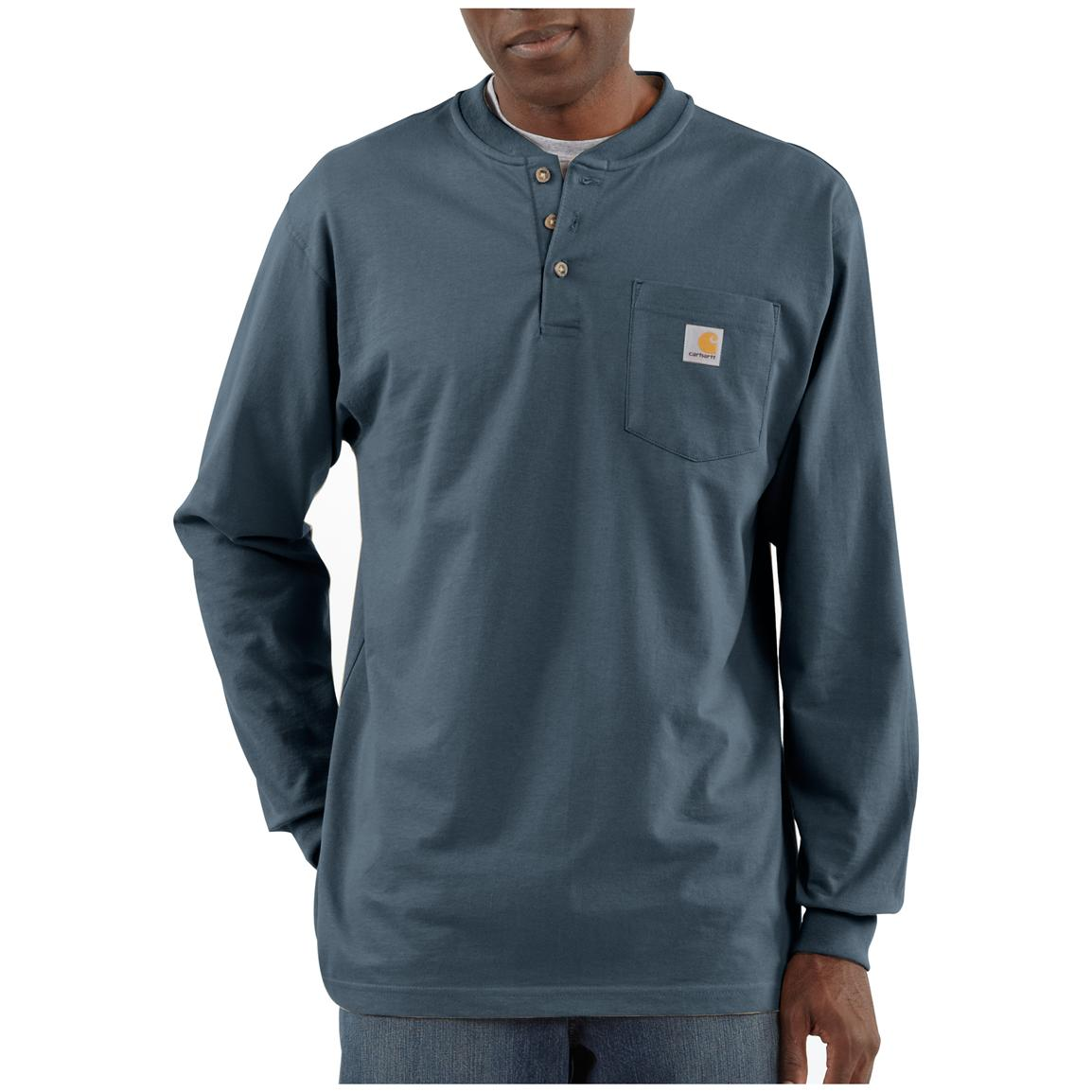 Carhartt® Long-sleeved Pocket Henley Shirt, Bluestone
