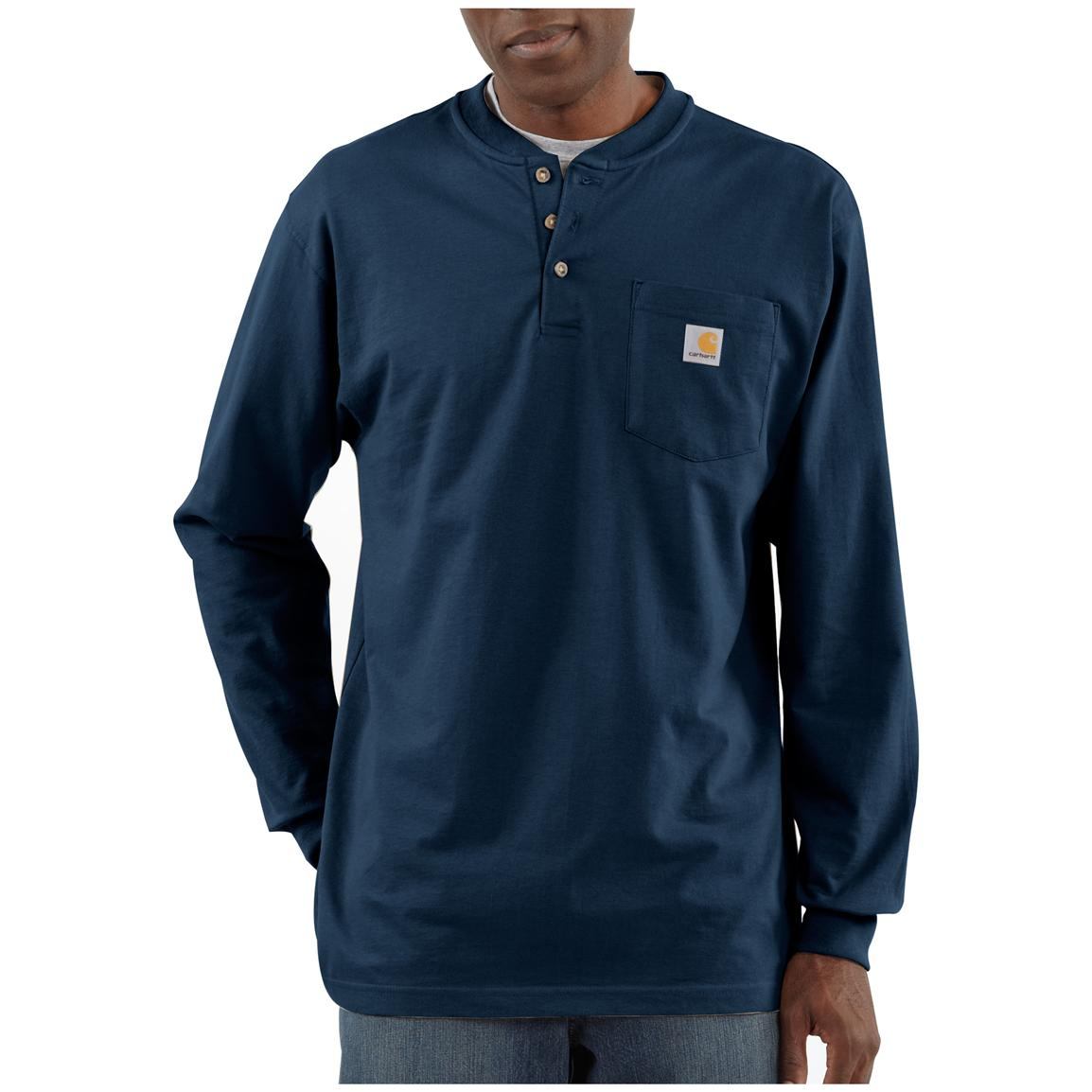 Carhartt® Long-sleeved Pocket Henley Shirt, Navy