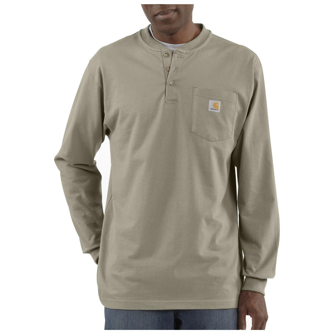 Carhartt® Long-sleeved Pocket Henley Shirt, Desert