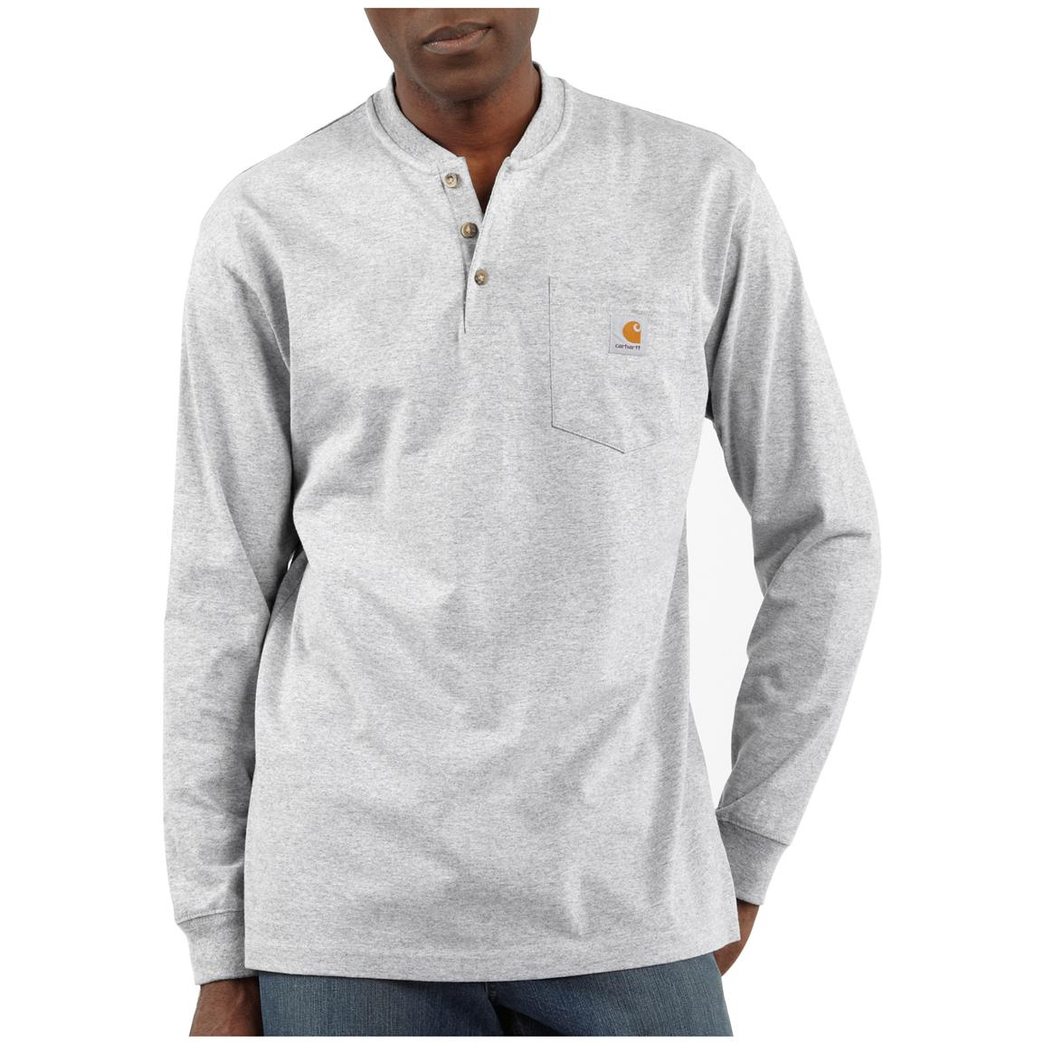 Carhartt® Long-sleeved Pocket Henley Shirt, Heather Grey