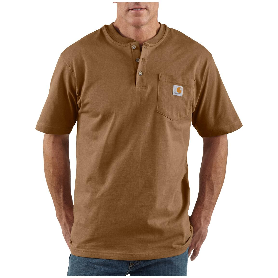 Men's Carhartt® Workwear Short-sleeve Pocket Henley, Brown