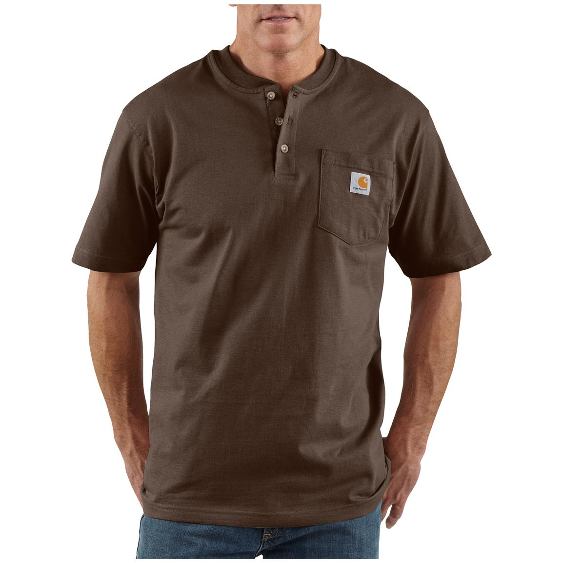 Men's Carhartt® Workwear Short-sleeve Pocket Henley, Dark Brown