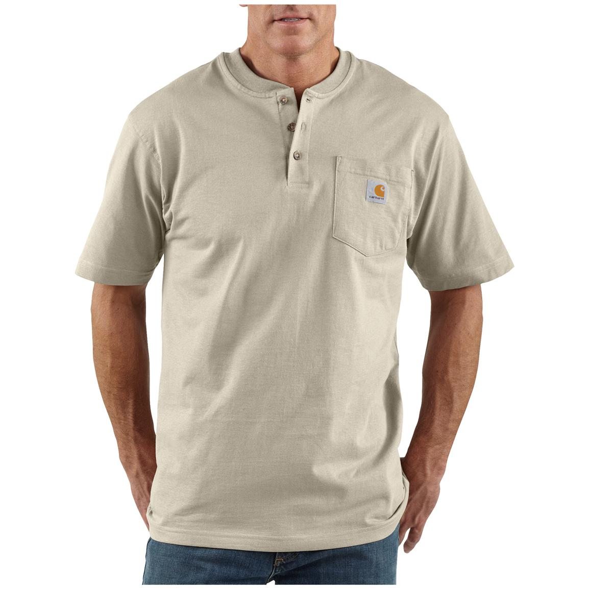 Men's Carhartt® Workwear Short-sleeve Pocket Henley, Sand