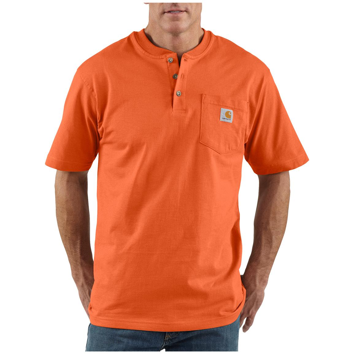 Men's Carhartt® Workwear Short-sleeve Pocket Henley, Orange