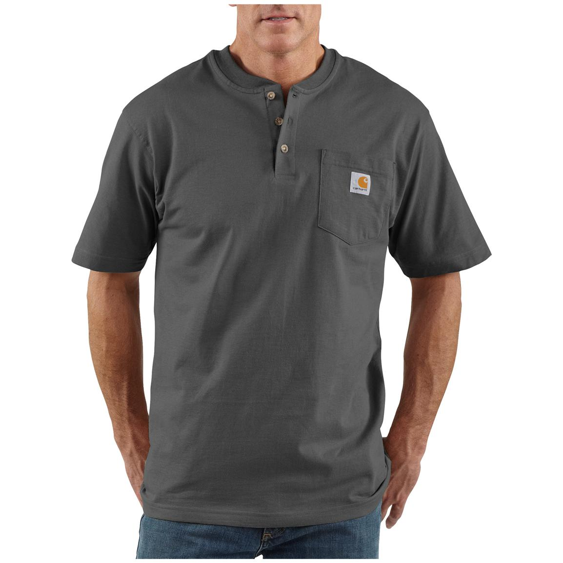 Men's Carhartt® Workwear Short-sleeve Pocket Henley, Charcoal