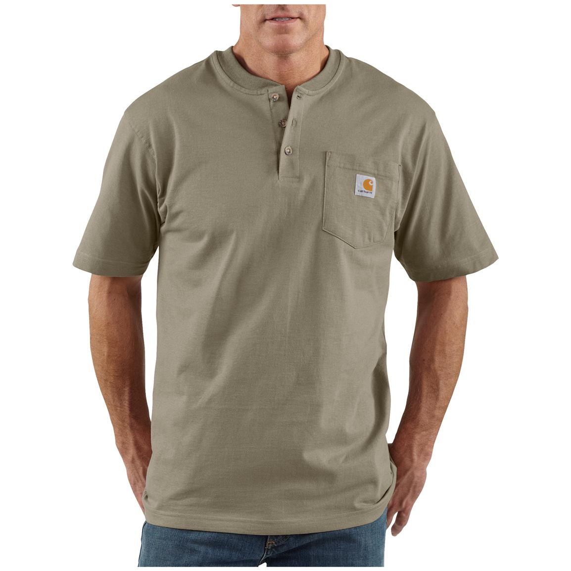 Men's Carhartt® Workwear Short-sleeve Pocket Henley, Desert