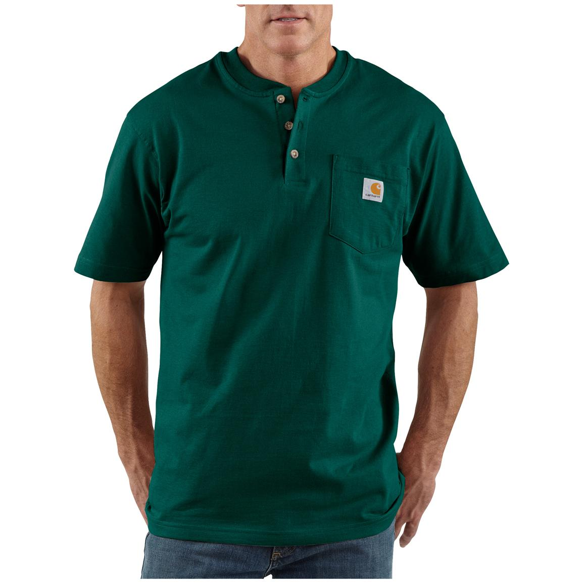 Men's Carhartt® Workwear Short-sleeve Pocket Henley, Hunter Green
