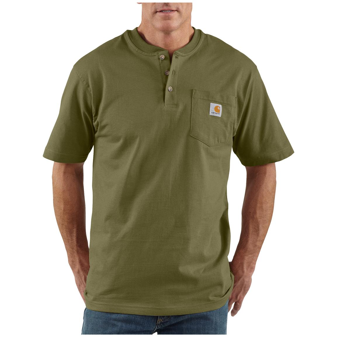Men's Carhartt® Workwear Short-sleeve Pocket Henley, Army Green