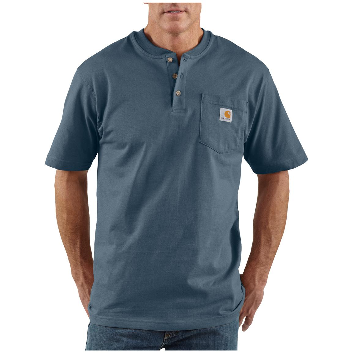 Men's Carhartt® Workwear Short-sleeve Pocket Henley, Bluestone