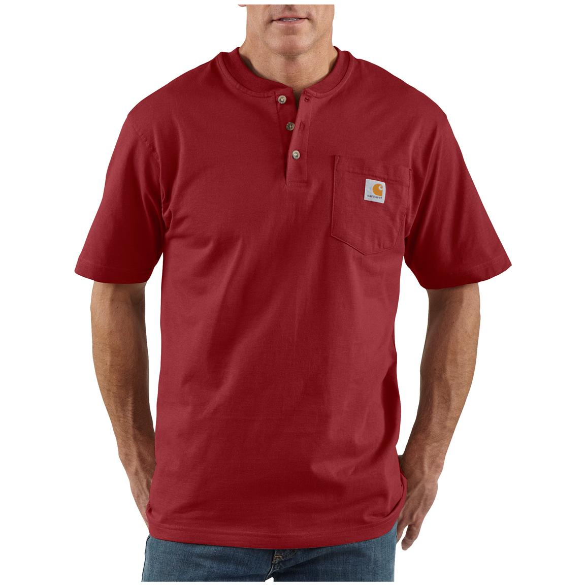 Men's Carhartt® Workwear Short-sleeve Pocket Henley, Dark Red