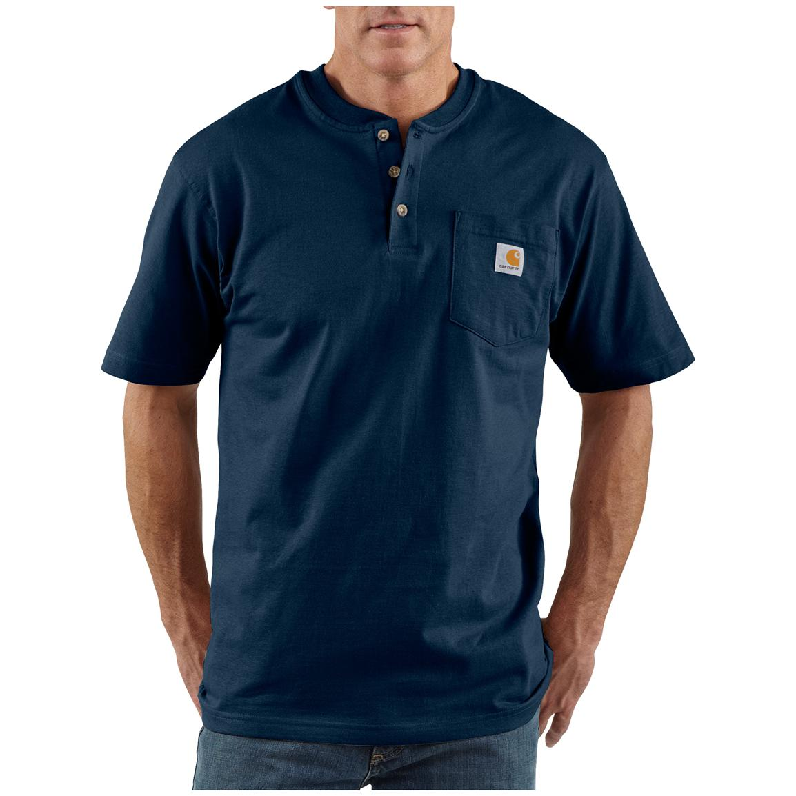 Men's Carhartt® Workwear Short-sleeve Pocket Henley, Navy