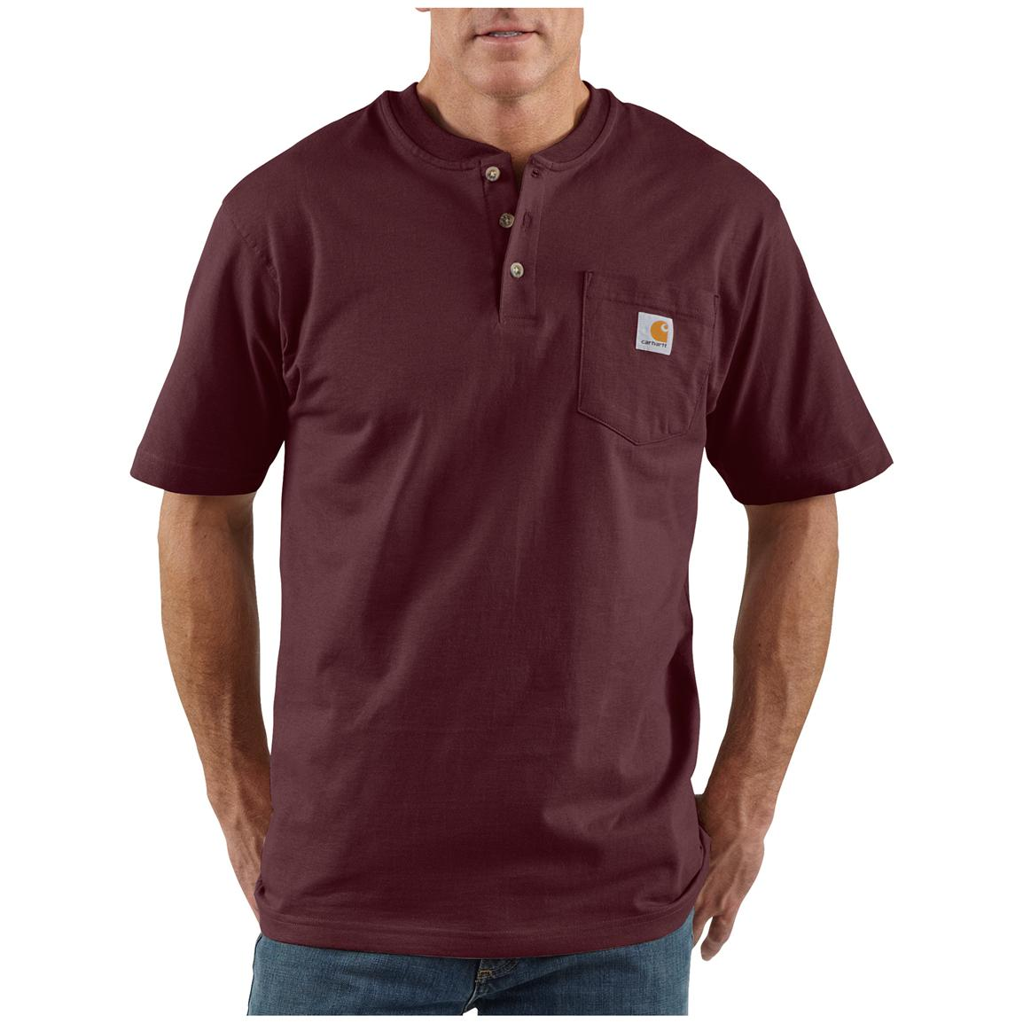 Men's Carhartt® Workwear Short-sleeve Pocket Henley, Port