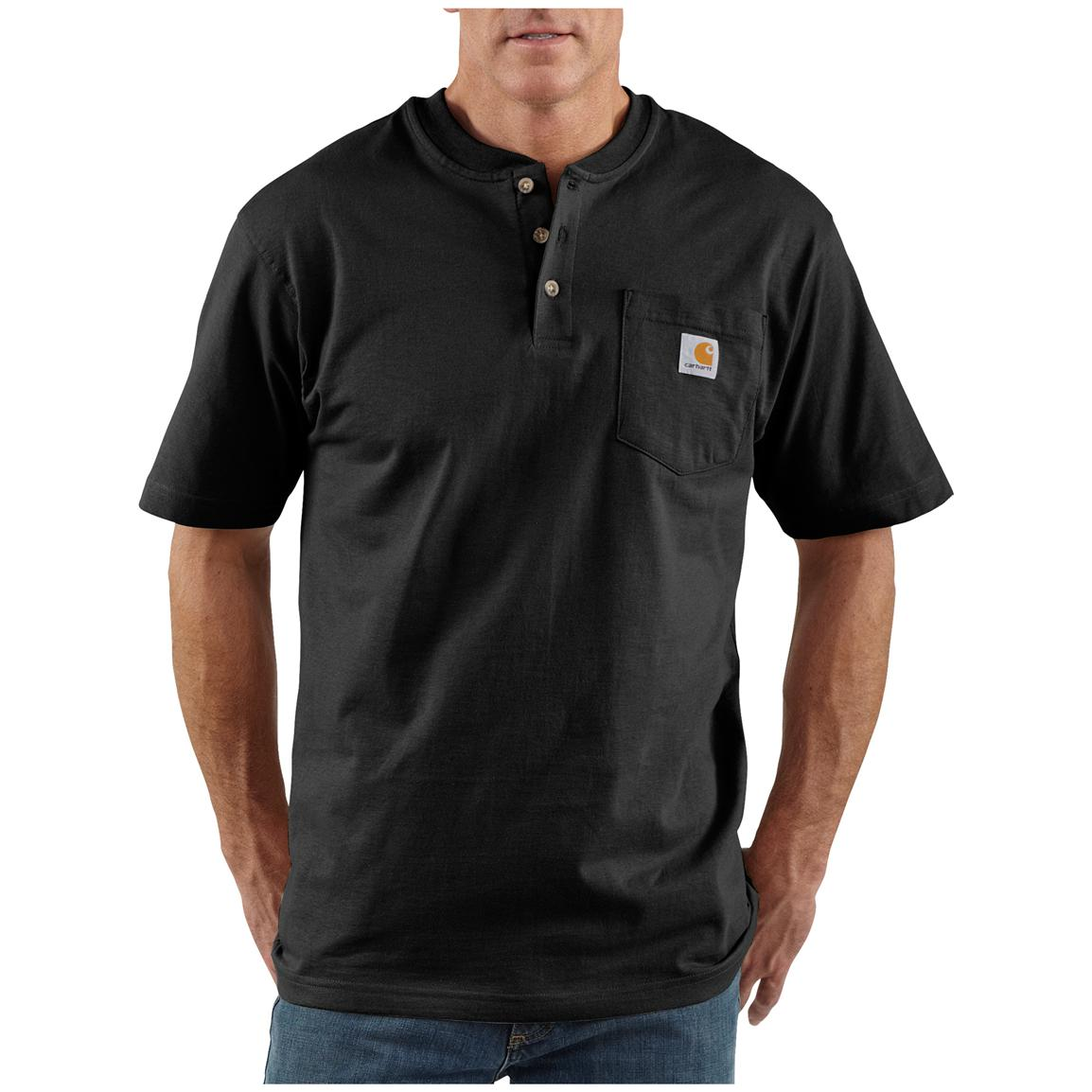 Men's Carhartt® Workwear Short-sleeve Pocket Henley, Black