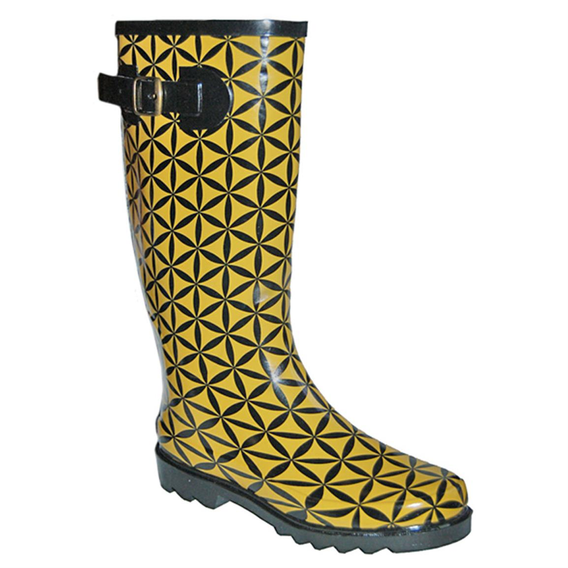 Women's Itasca™ Spring Lake Rubber Boots, Geo Pattern/Yellow