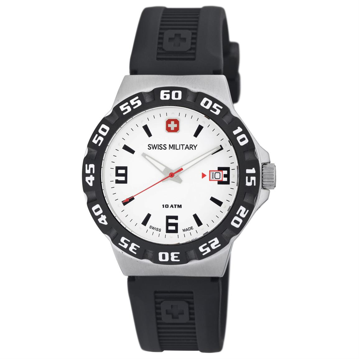 Men's Swiss Military Calibre Racer Watch with Rubber Strap, White