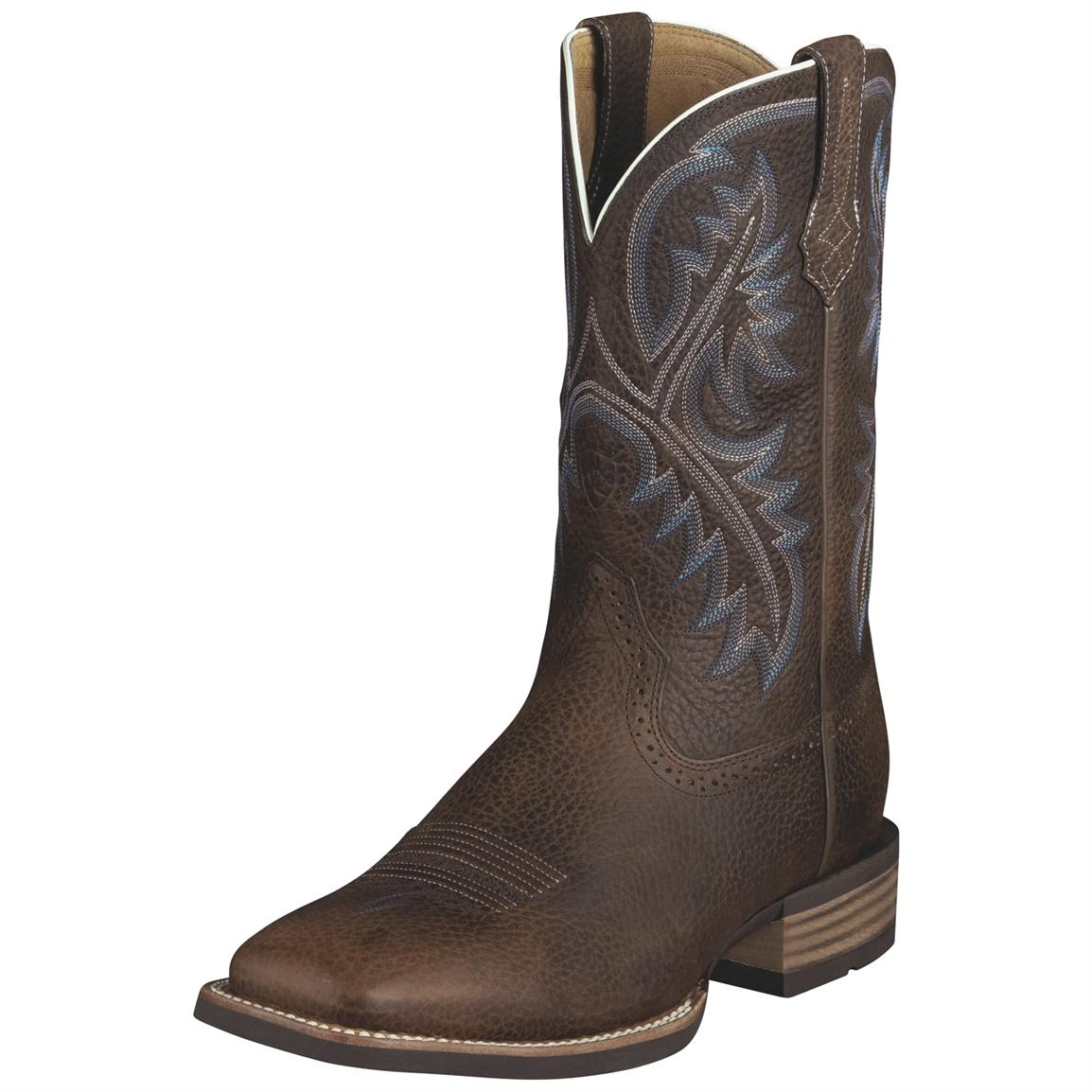 Men's Ariat® 11 inch Quickdraw Western Boots, Brown Oiled