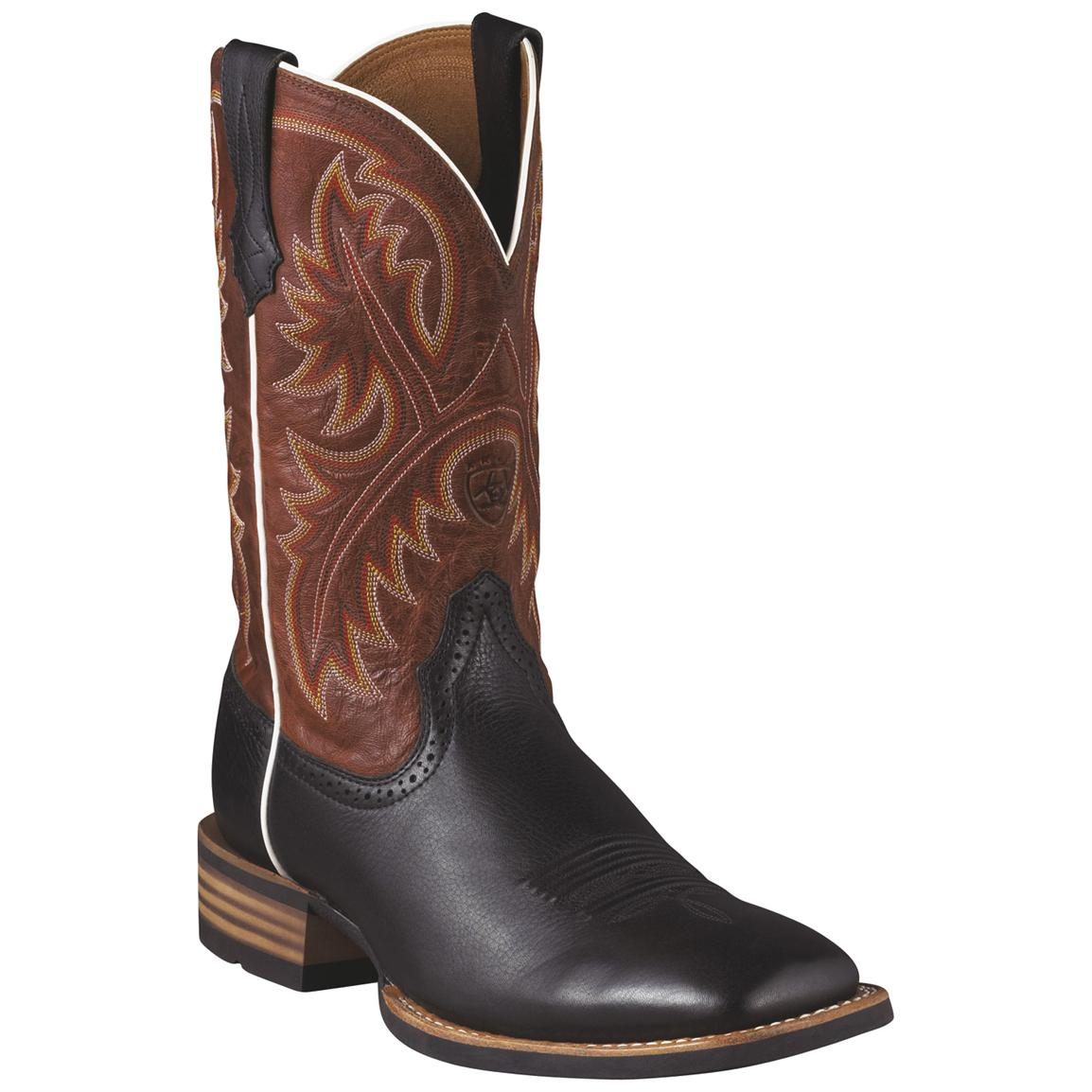 Men's Ariat® 11 inch Quickdraw Western Boots, Black Deer Tan