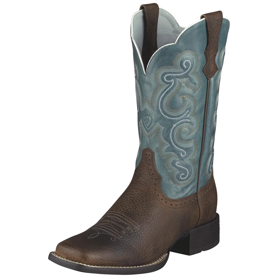 Women's Ariat® 11 inch Quickdraw Western Boots, Brown / Blue