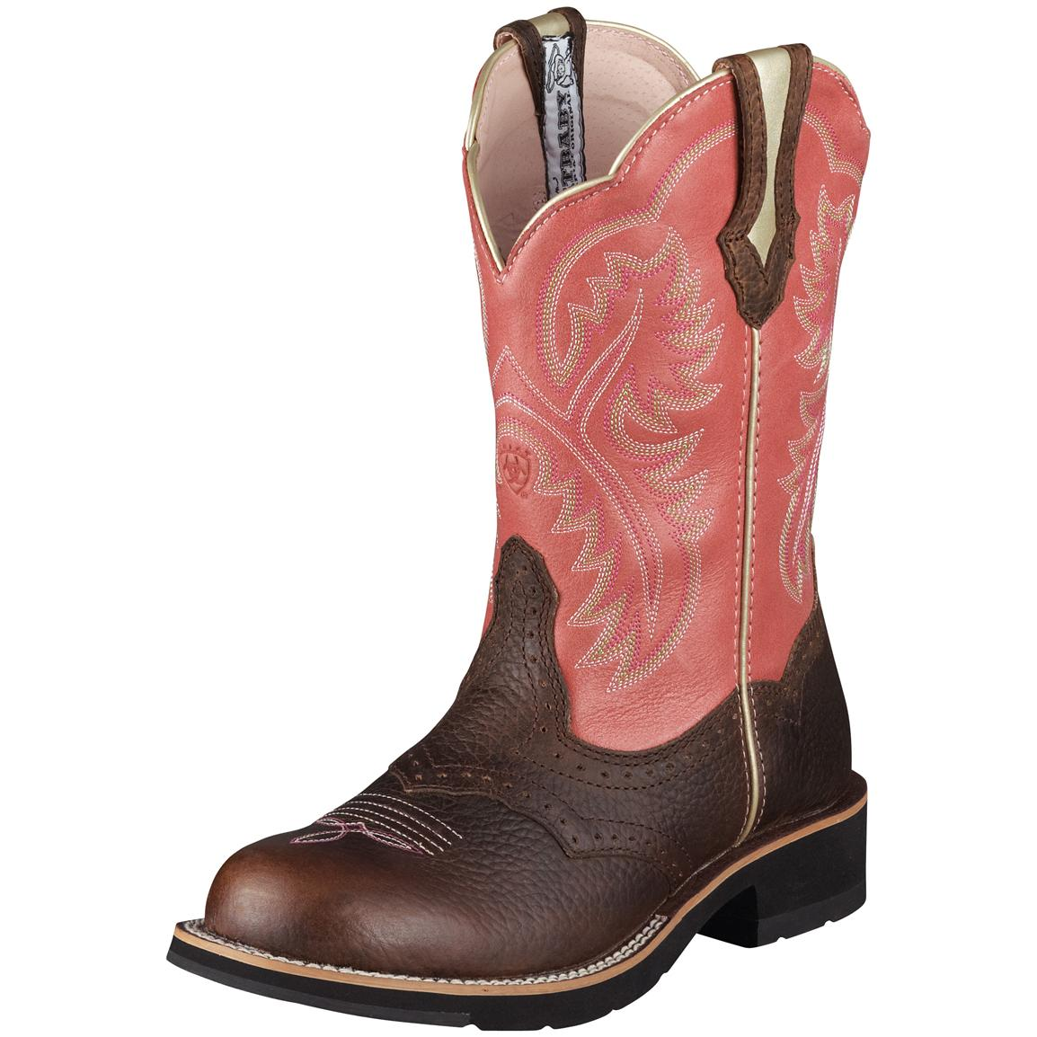 Women's Ariat® 8 inch Showbaby Western Boots, Brown / Rose