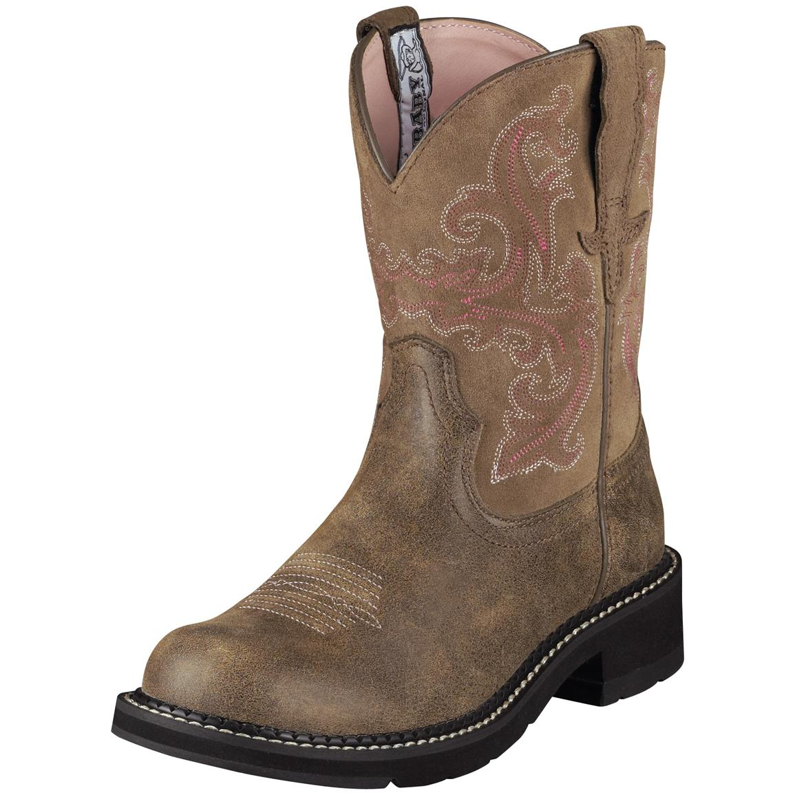 Women's Ariat® 8 inch Fatbaby II Western Boots, Brown Bomber
