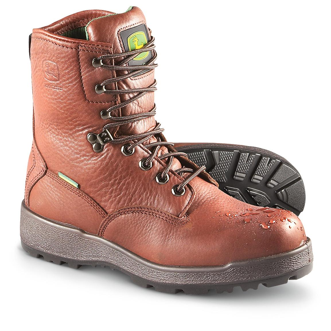 "Men's 8"" John Deere® Waterproof Work Boots, Brown"