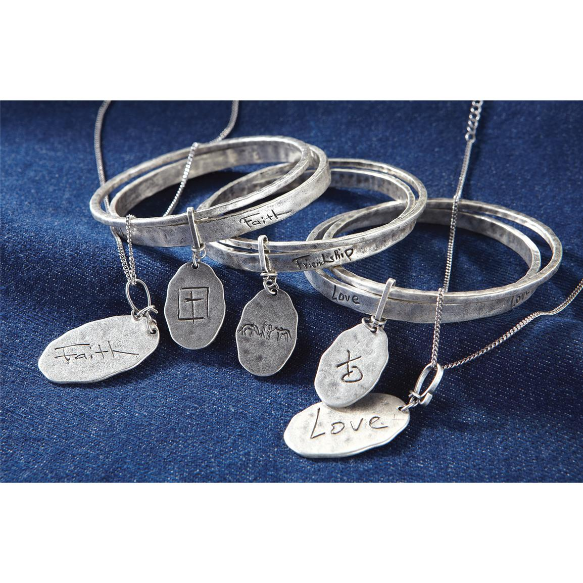 Montana Silversmiths® Inspirational Necklaces and Bracelets; Faith, Friendship, Love