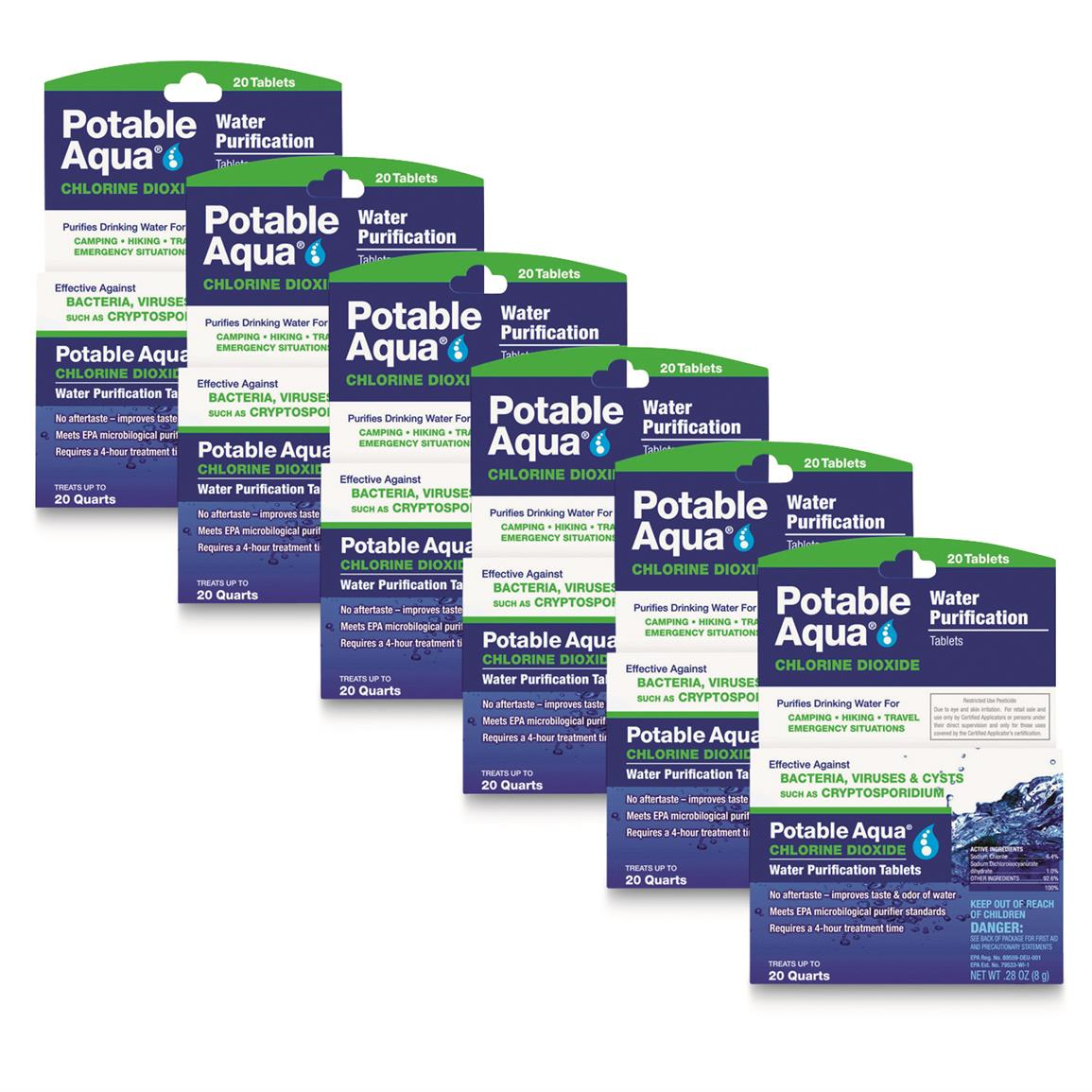 Potable Aqua Chlorine Dioxide Water Purification Tablets, 120 Count