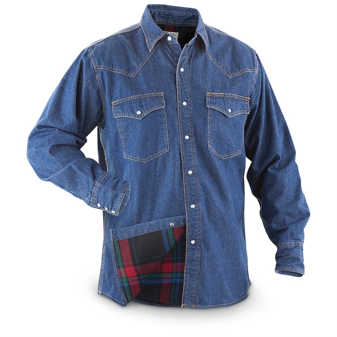 Ely Cattleman® Flannel - lined Denim Work Shirts