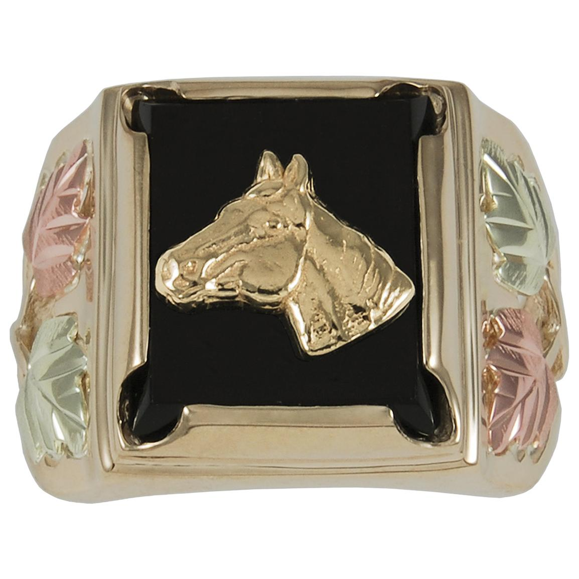 Men's Coleman® Black Hills Gold 10K Gold Horse and Onyx Ring