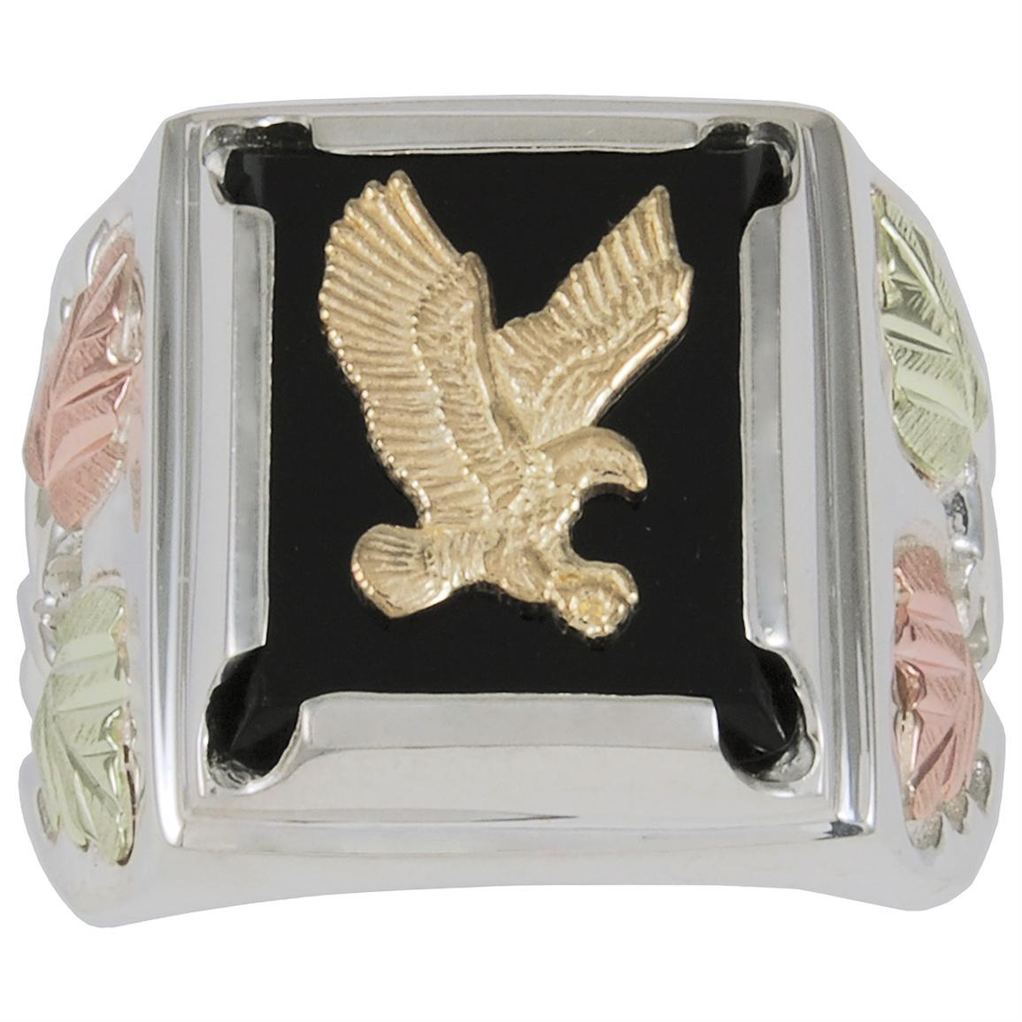Men's Coleman® Black Hills Gold Eagle and Onyx Sterling Silver Ring