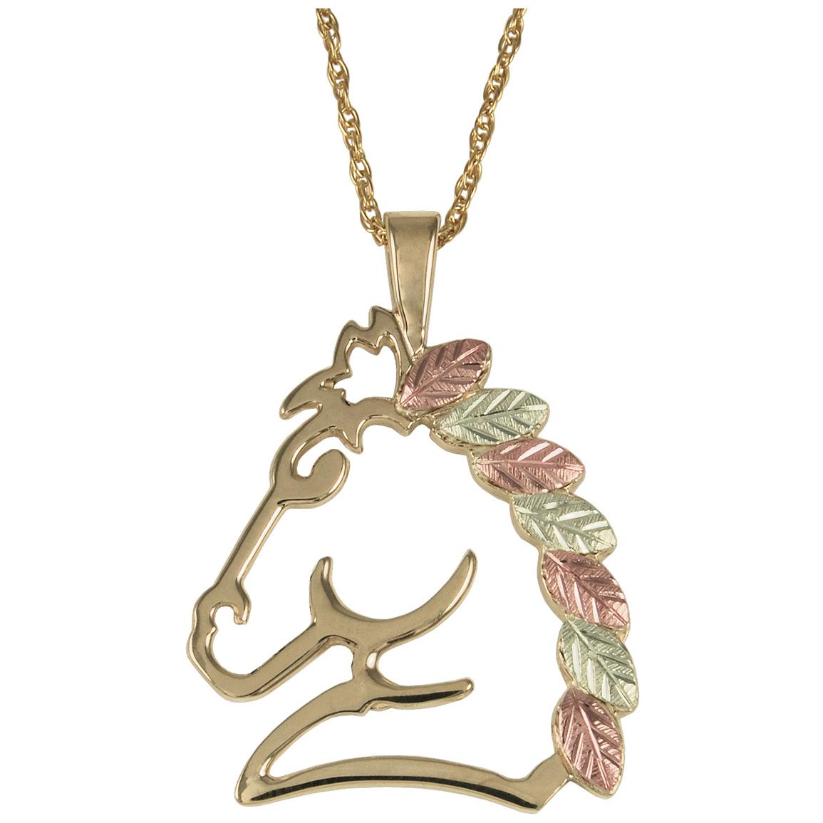 Black Hills Gold by Coleman® 10-karat Gold Horse Pendant 18 inch Necklace