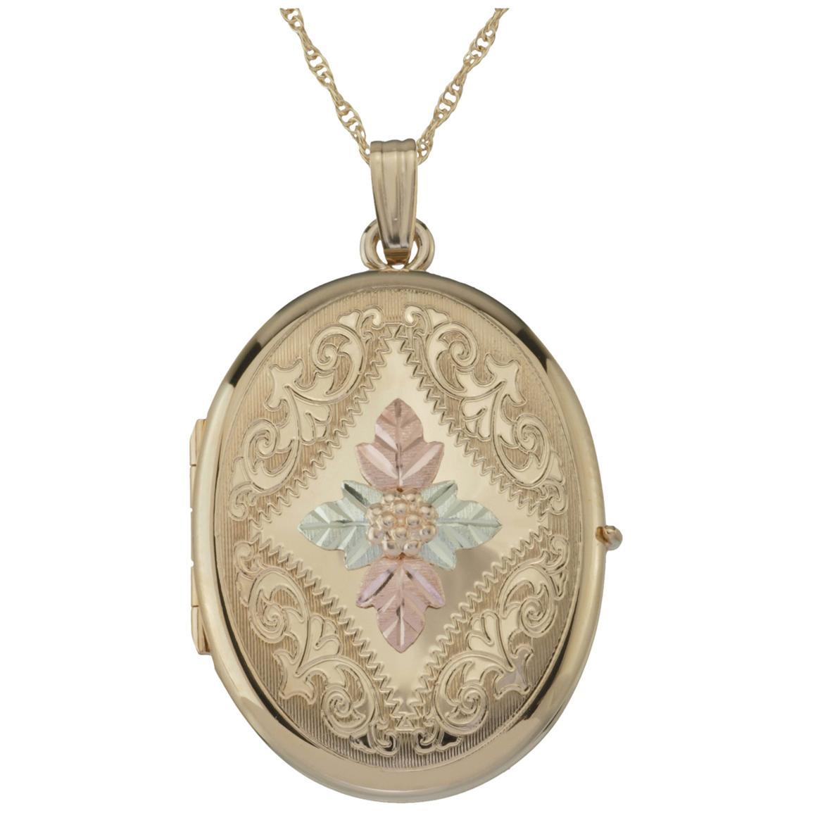 Black Hills Gold by Coleman® Gold-filled Four Picture Oval Locket 20 inch Necklace