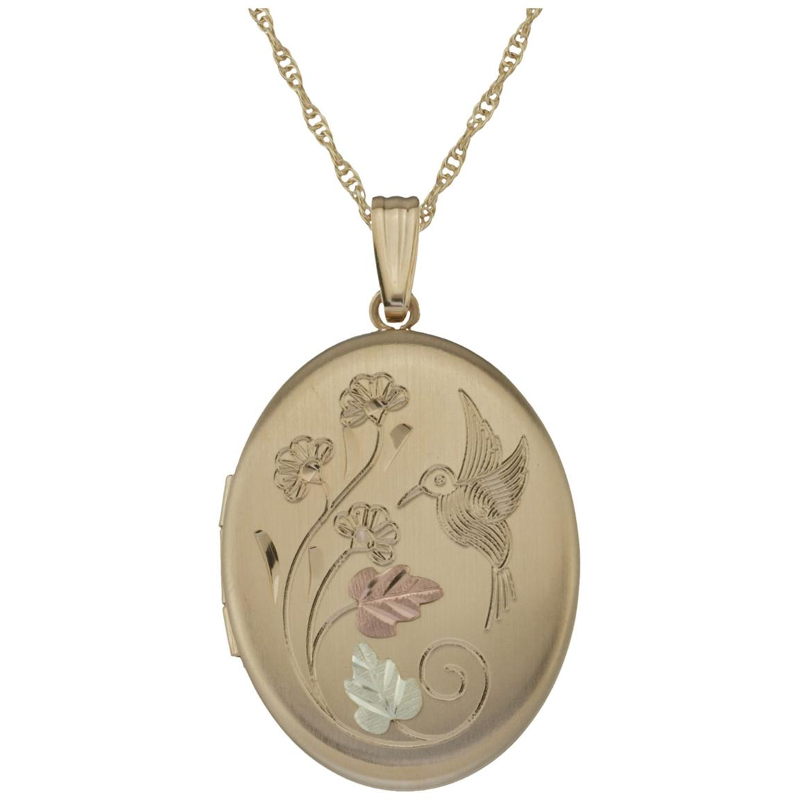 Black Hills Gold by Coleman® 14-karat Gold-filled Two-Picture Hummingbird Locket