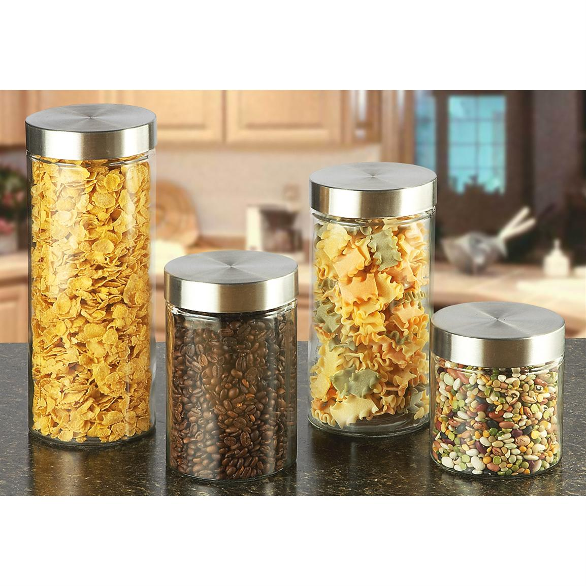 4 Pc Glass Kitchen Canister Set 217394 Food