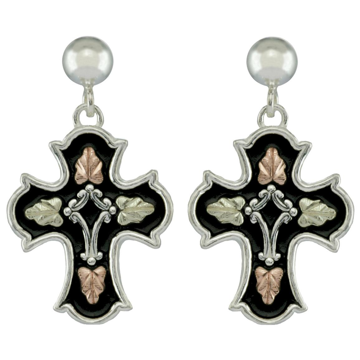 Black Hills Gold by Coleman® Sterling Silver Antiqued Cross Earrings