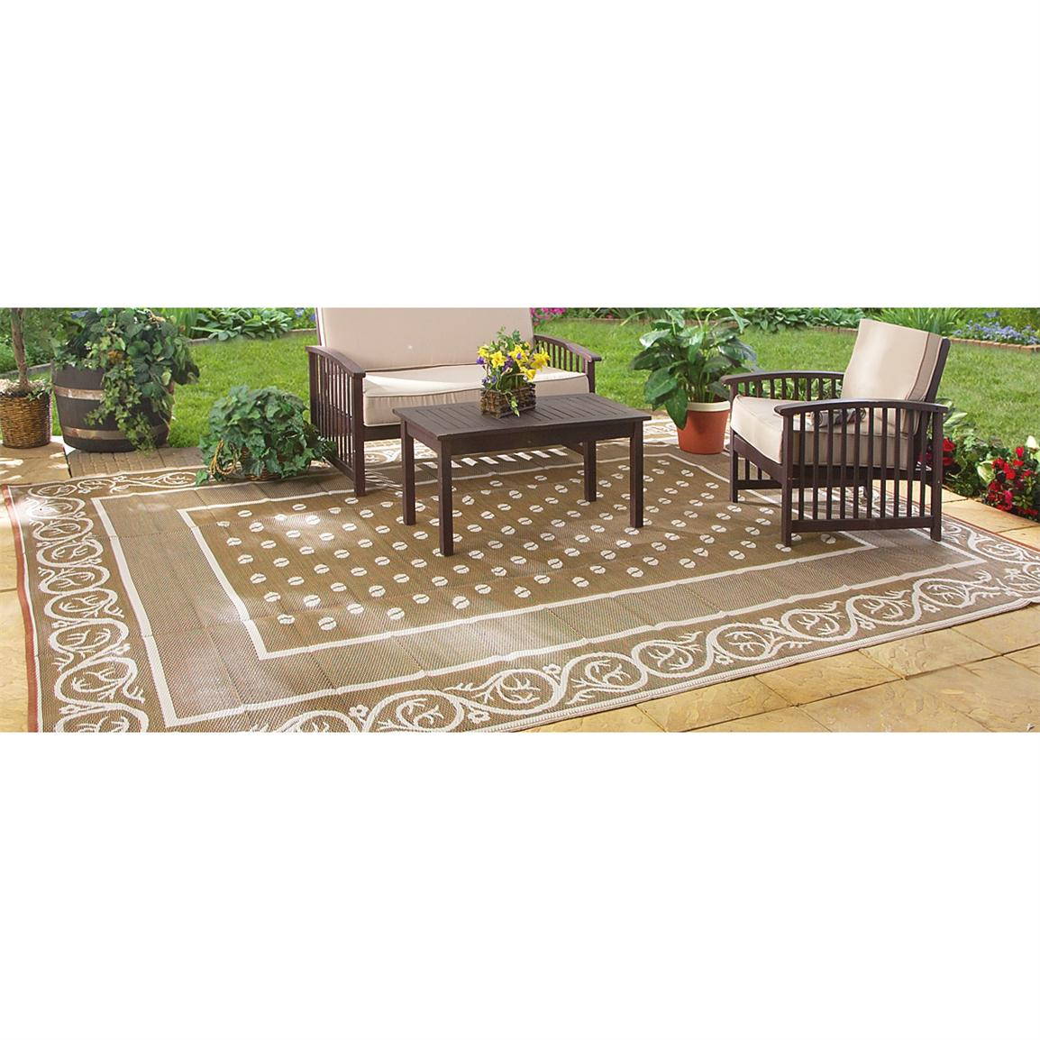 Guide Gear Reversible 6 foot x 9 foot Outdoor Rug, Scroll Pattern