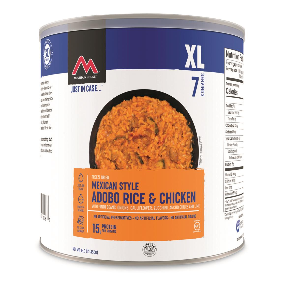 Mountain House Emergency Food Freeze-Dried Mexican-style Adobe Rice and Chicken, 7 Servings