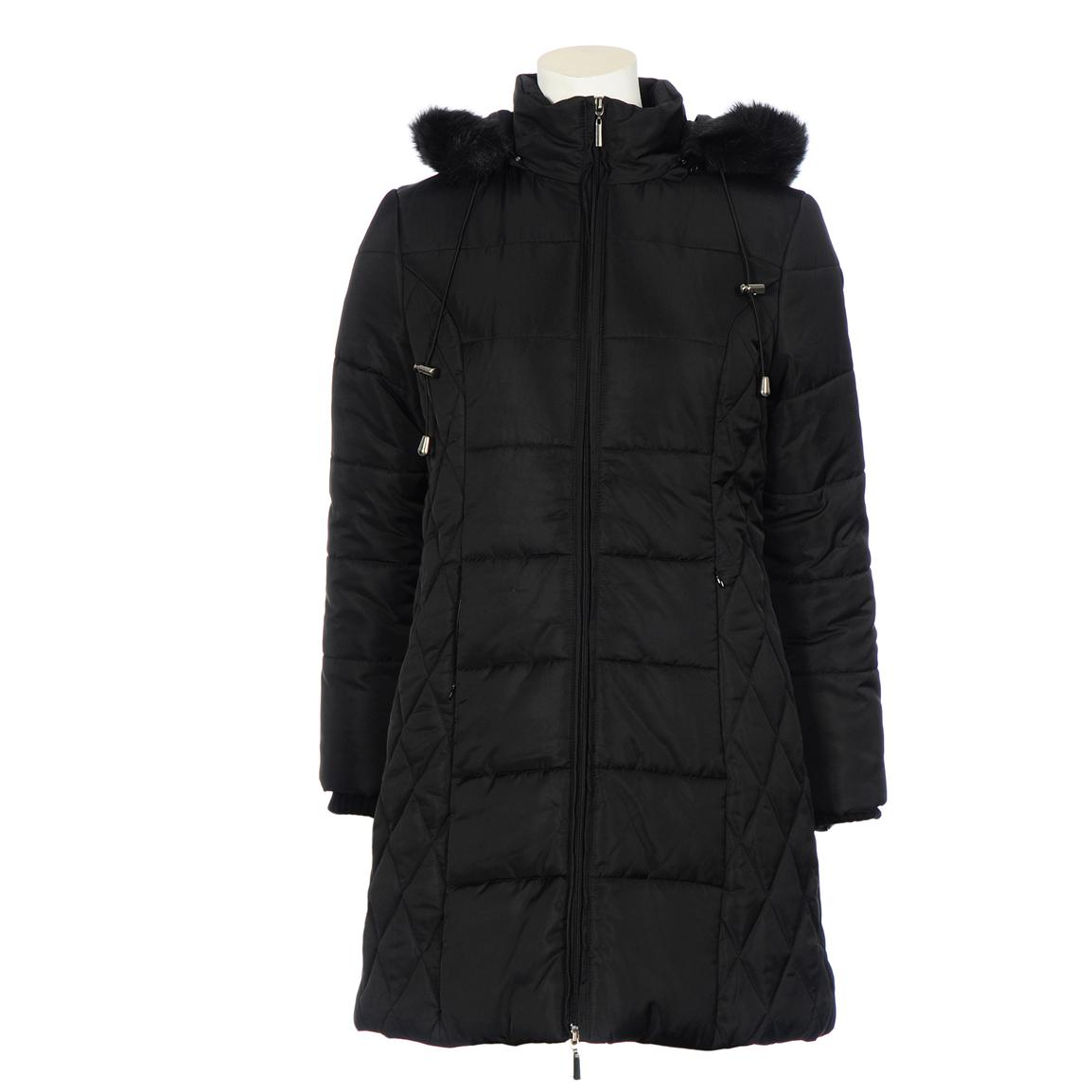 Women's Excelled® Quilted Fashion 3/4 Coat, Black