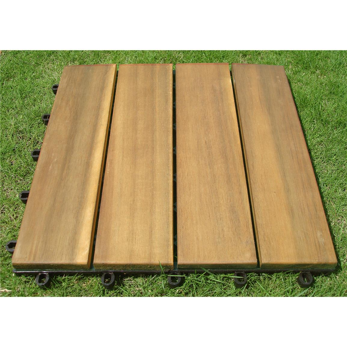 VIFAH® 4-Slat Design Plantation Teak Interlocking Wood Deck Tiles