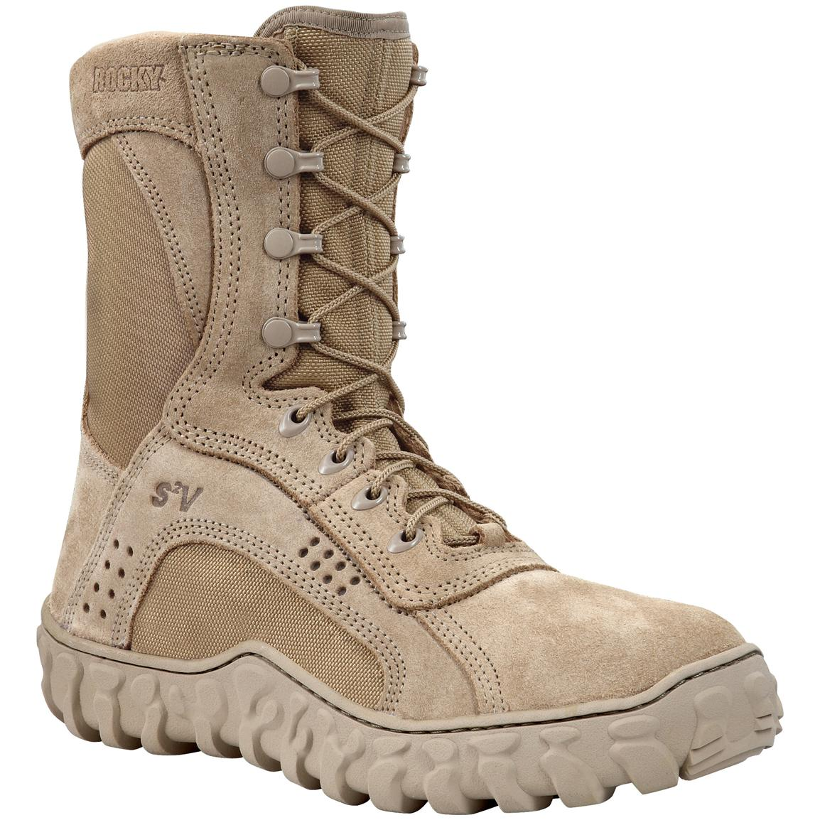Men's Rocky® S2V Steel Toe Military Boots, Desert Tan