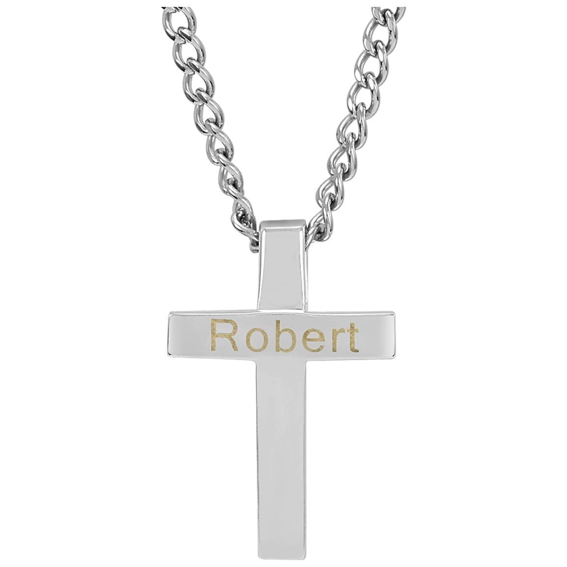 Hampden Stainless Steel Cross Name Pendant