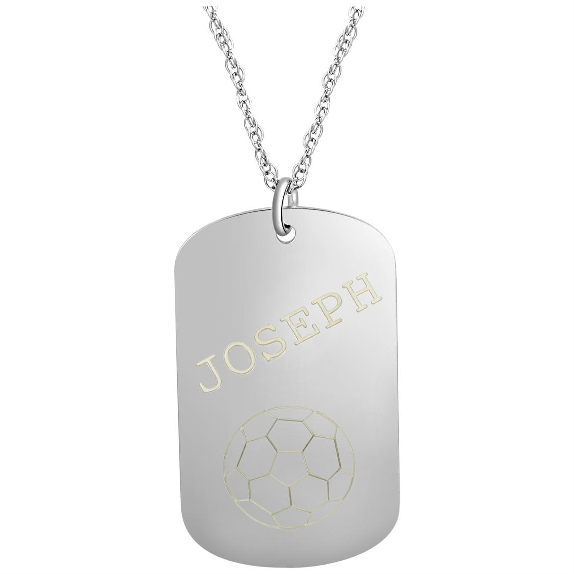 Hampden Sterling Silver Soccer Ball Dog Tag Pendant