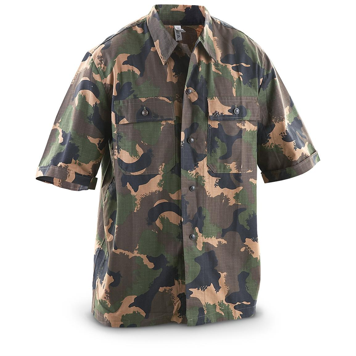 New Hungarian Military Surplus Short-sleeved Ripstop Shirt, Woodland Camo