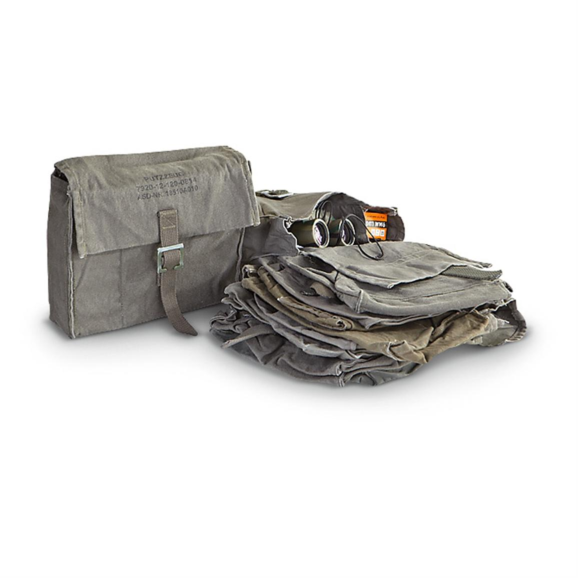 10 Used German Military Surplus Ditty Bags, Olive Drab; 120-cu. in. capacity