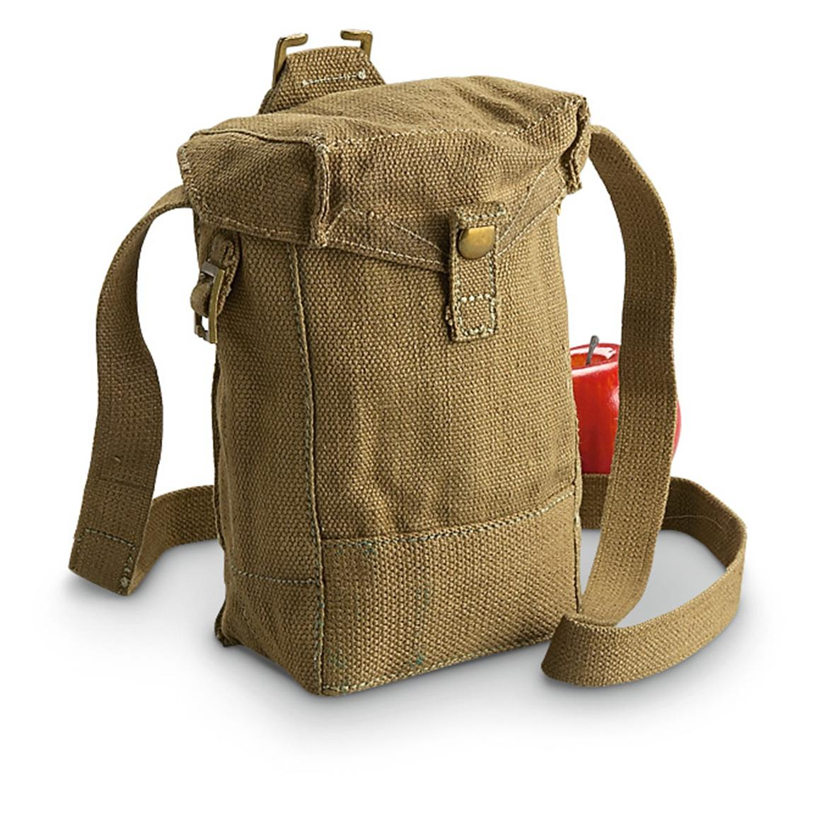 2-Pk. of Used British Military Surplus Canvas Shoulder Bags, Olive Drab - 122-cu. in. capacity