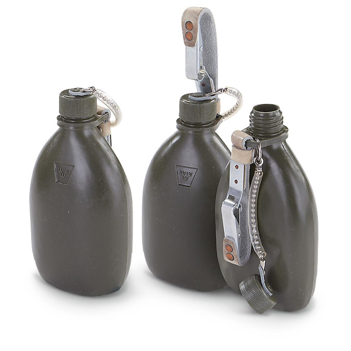 3 New Swedish Military Canteens, Olive Drab