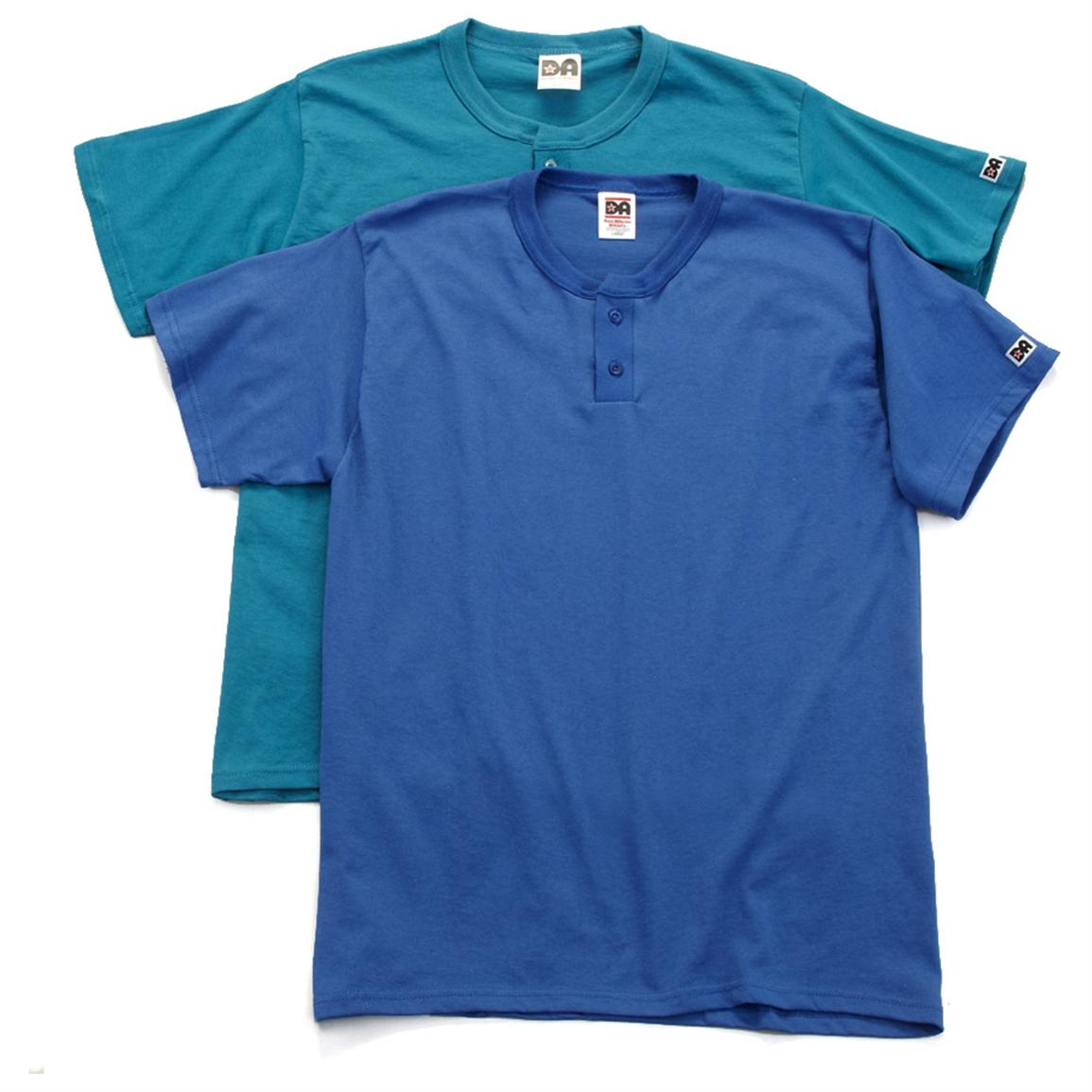 2-Pk. of Don Alleson™ Short-sleeved Henleys, 1 Light Blue / 1 Royal