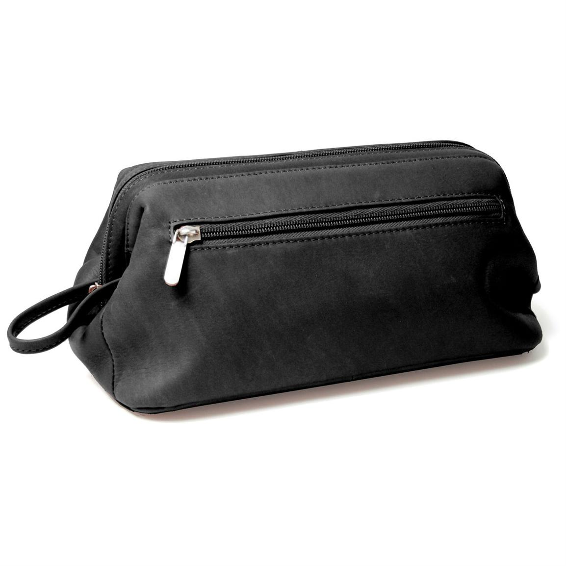 Royce® Colombian Leather Toiletry Bag, Black