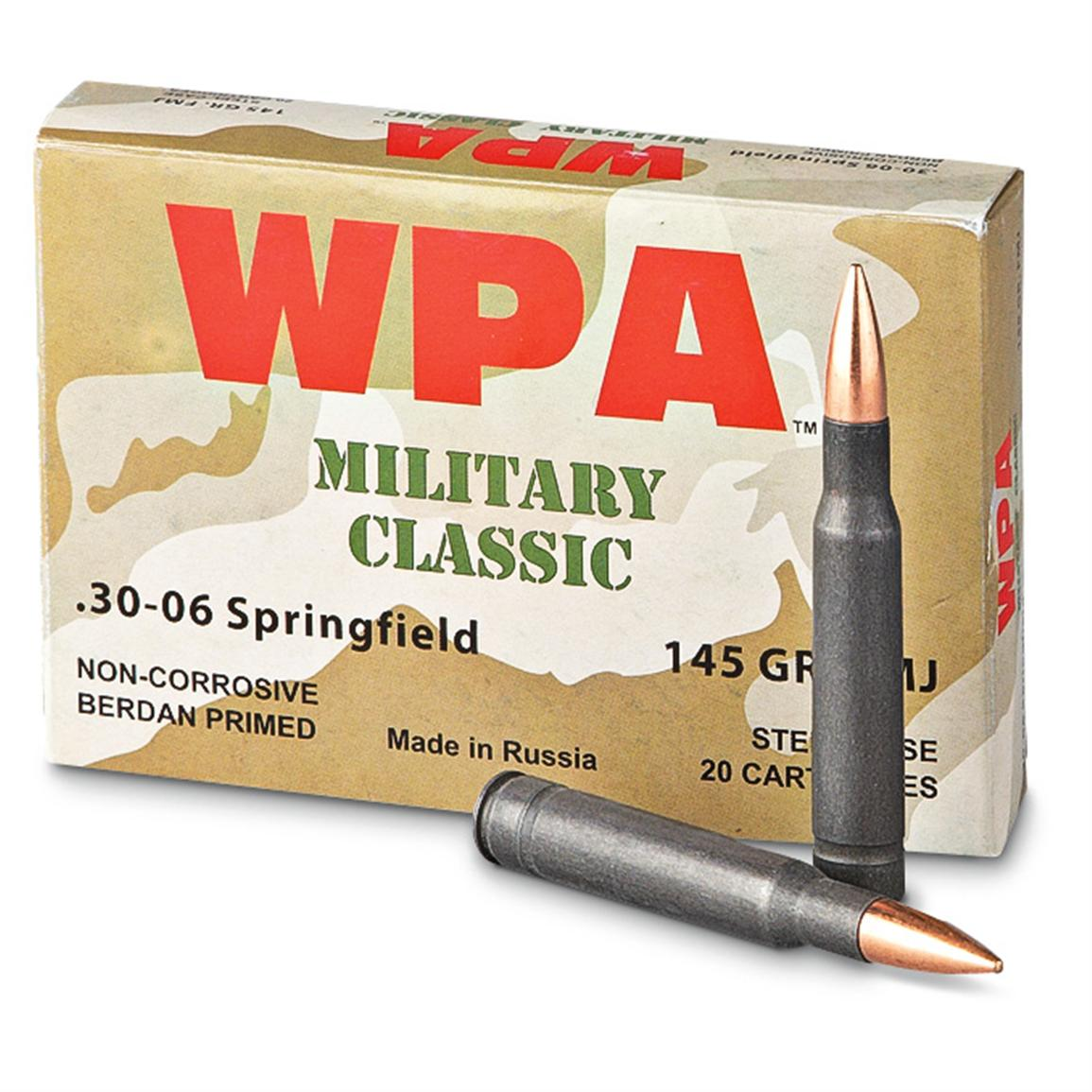 Wolf Military Classic, .30-06, FMJ, 145 Grain, 500 Rounds