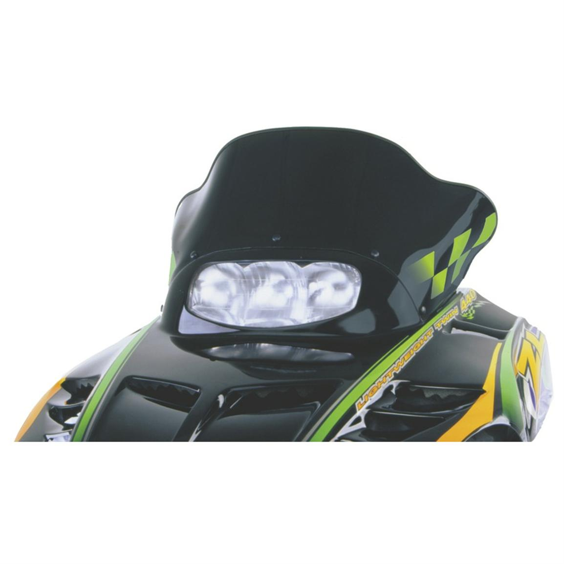 14 inch PowerMadd® Cobra Snowmobile Windshield for Arctic Cat ZR2 Chassis, Solid Black with Green Checks